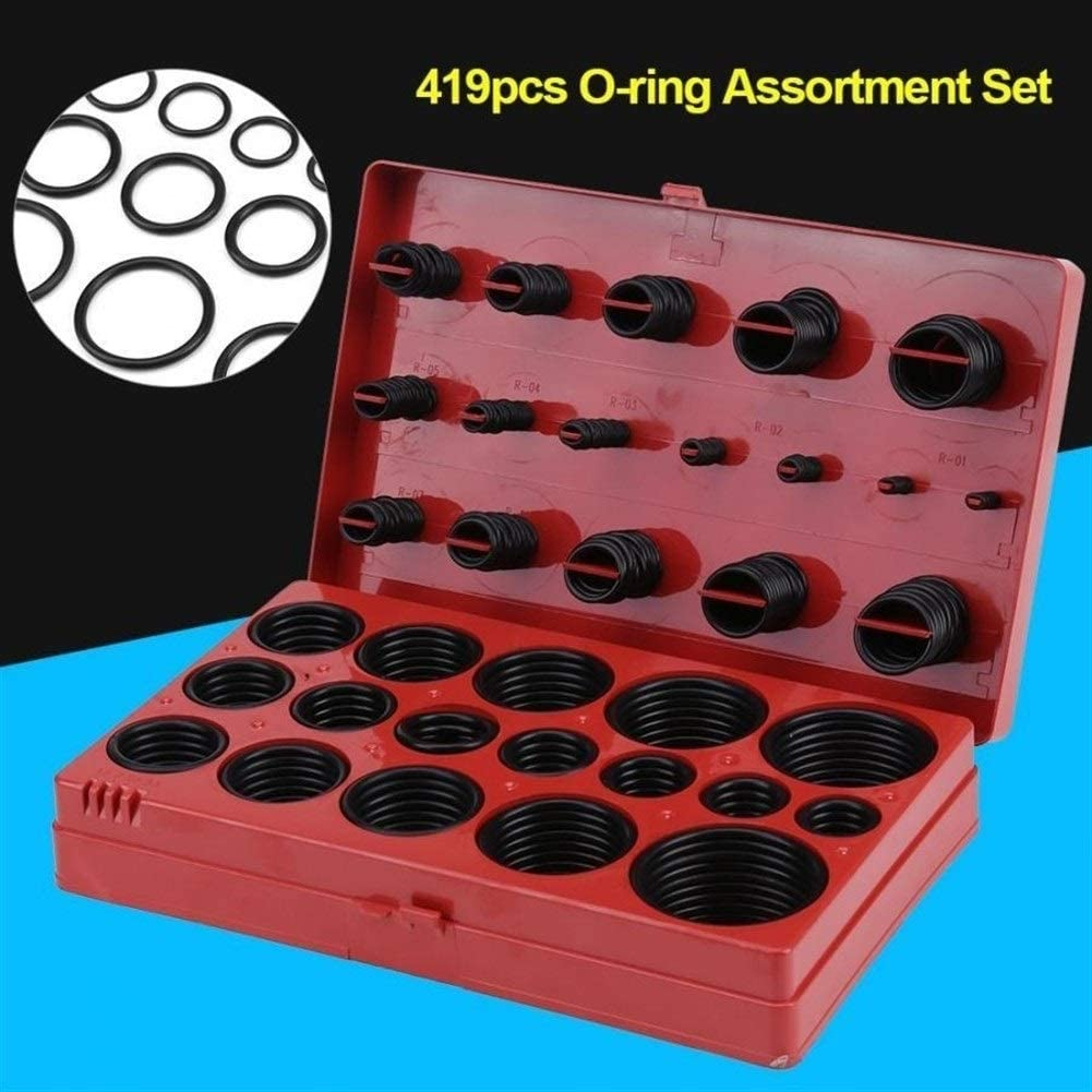 LuckyMAO O Rings 419pcs Universal Rubber O Ring Kit Assortment Set Seal Gasket Universal Rubber O Ring Kit R01-R32 Tool with Box
