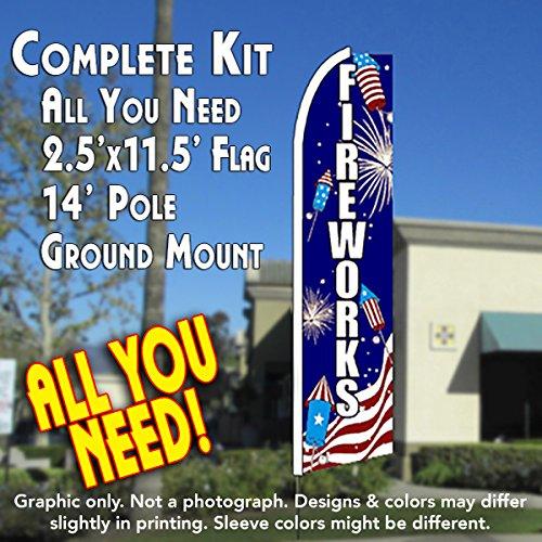 FIREWORKS (Rockets) Flutter Feather Banner Flag Kit (Flag, Pole, & Ground Mt)