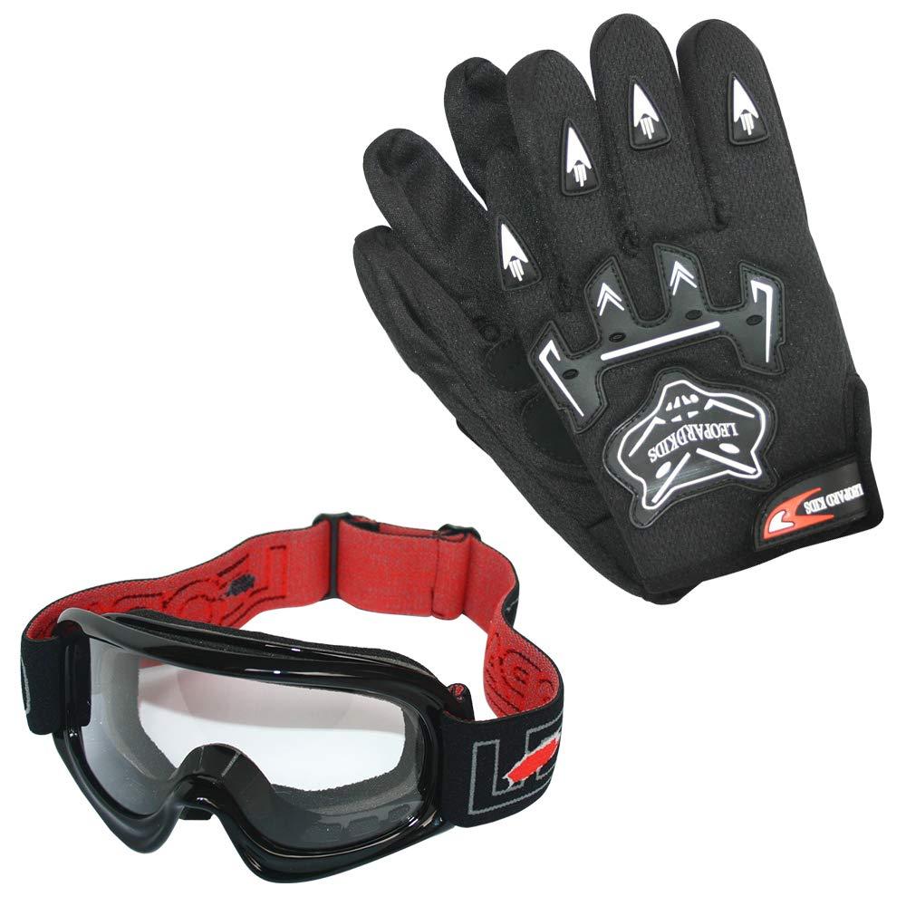 L 53-54cm /& Gloves Leopard LEO-X16 Black Kids Motocross Helmet XL 11-12 Yrs L 7cm /& Goggles /& Camo Motocross Suit Jacket