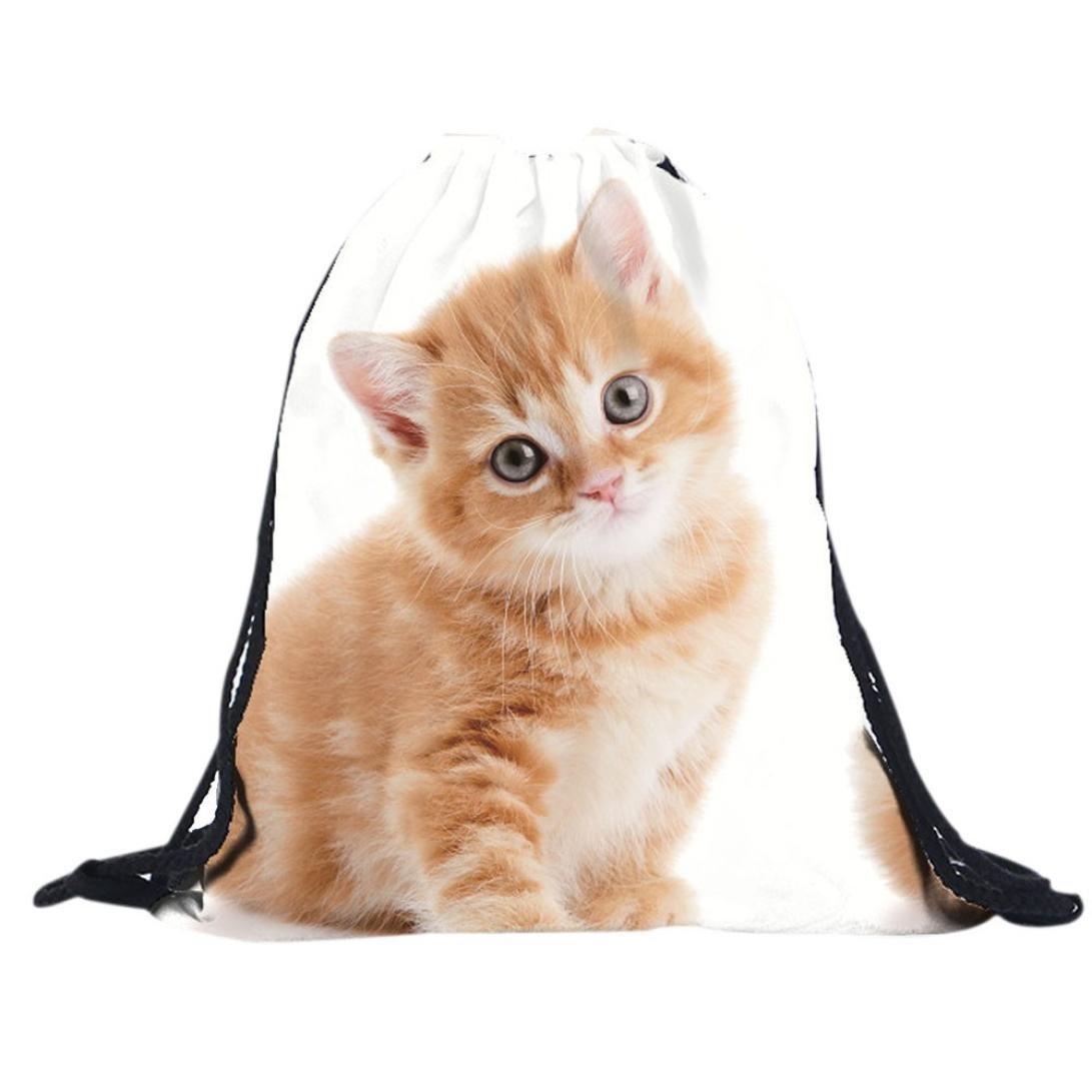 Kingko® Unisex Backpacks Draw string Cute 3D Cat Pet Printing Girl Bags Drawstring Backpack (White)