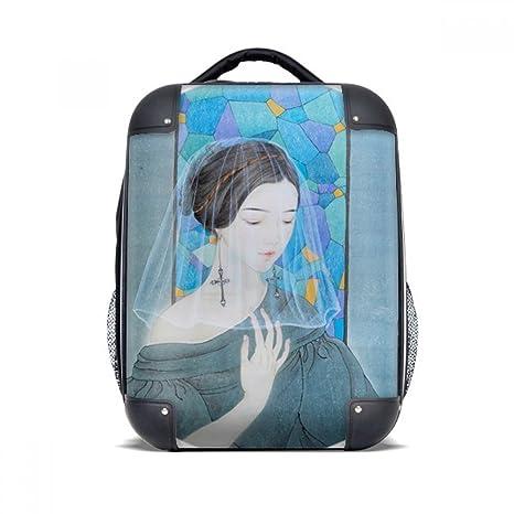 DIYthinker Azul belleza blanca de hilo chino Pintura dura de la caja de transporte para hombro