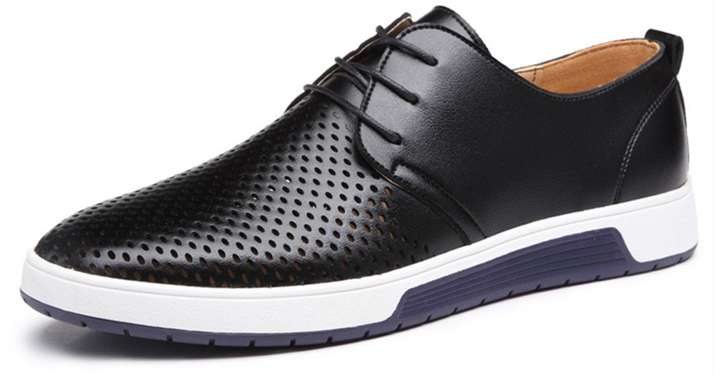 Sanyge Men's Urban Leather Oxfords Shoes Lace up Classic Flats(Sanyge2808Hole-Black42)
