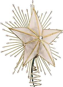 Kurt Adler 10-Inch 5-Point Capiz Star Treetop with Rays and Beads