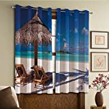 Custom design curtains/Vintage Lace Window Curtain/Grommet Top Blackout Curtains/Thermal Insulated Curtain For Bedroom And Kitchen-Set of 2 Panels(bean Honeymoon Themed Beach Seashore Ocean Print)