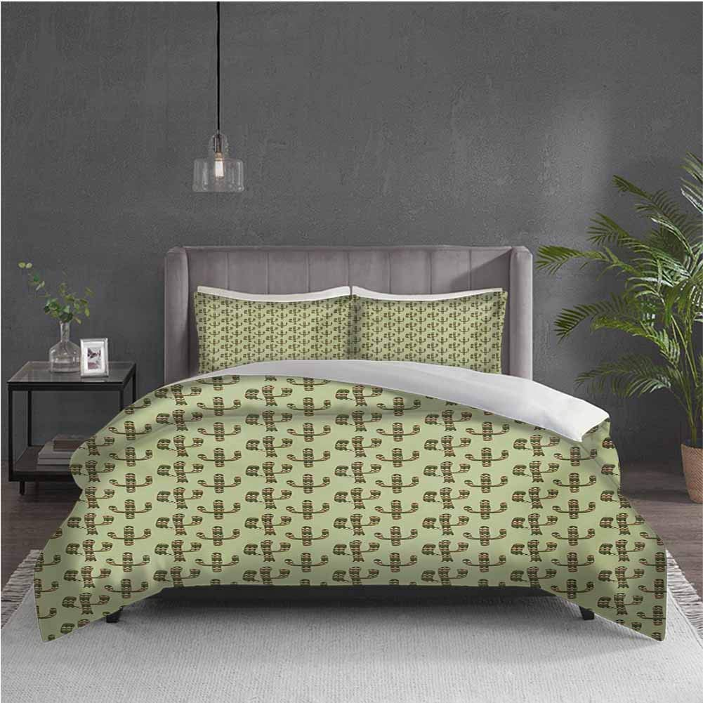 GUUVOR Cactus 3-Pack (1 Duvet Cover and 2 Pillowcases) Bedding Mexican Inspired Indigenous Foliage Abstract Chevron Nature Theme Polyester (Queen) Green Pistachio Green Caramel
