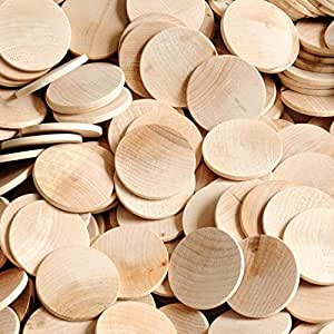 Package of 100 1 5 round disc unfinished wood for Wood circles for crafts