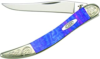 product image for Case Cutlery 910096LP/E Engraved Lollypop Small Texas Toothpick Corelon Pocket Knife with Stainless Steel Blades, Pink/Blue/Violet