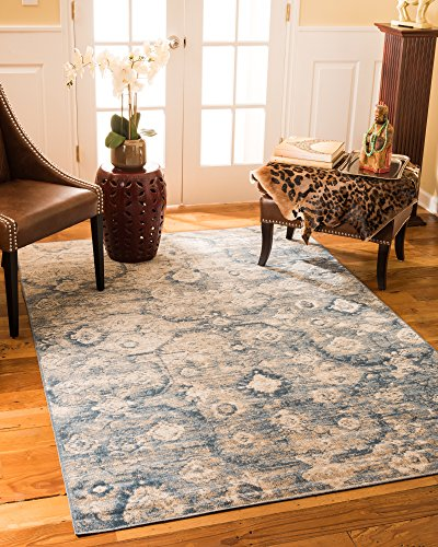 NaturalAreaRugs Iris Vintage Turkish Polypropylene Rug, Traditional, Durable, Eco-Friendly, Blue/Beige (7 Feet 10 Inches X 10 Feet 6 Inches) by NaturalAreaRugs