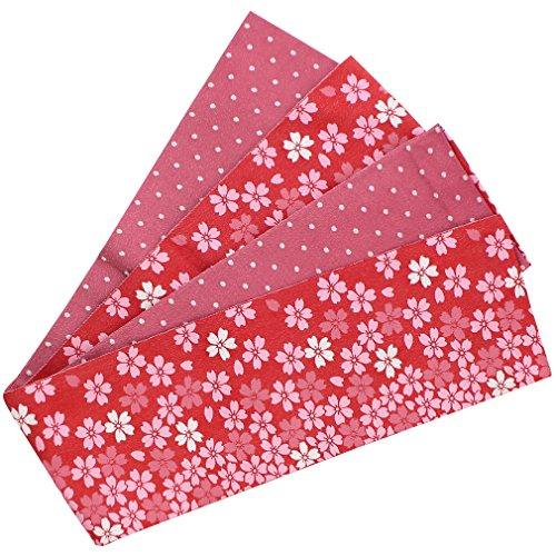 簡単に出撃者七時半(キステ) Kisste 半幅帯 浴衣?普段用 ポリエステル100% 細帯 リバーシブル 小袋帯 <赤×赤ピンク/小桜> 5-8-03673