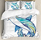 Abstract Home Decor Duvet Cover Set Queen Size by Ambesonne, Hammer Head Shark Ornate Underwater Sea Ocean Life Animals Marine Theme Image, Decorative Bedding Set with Pillow Shams, Blue Aqua White
