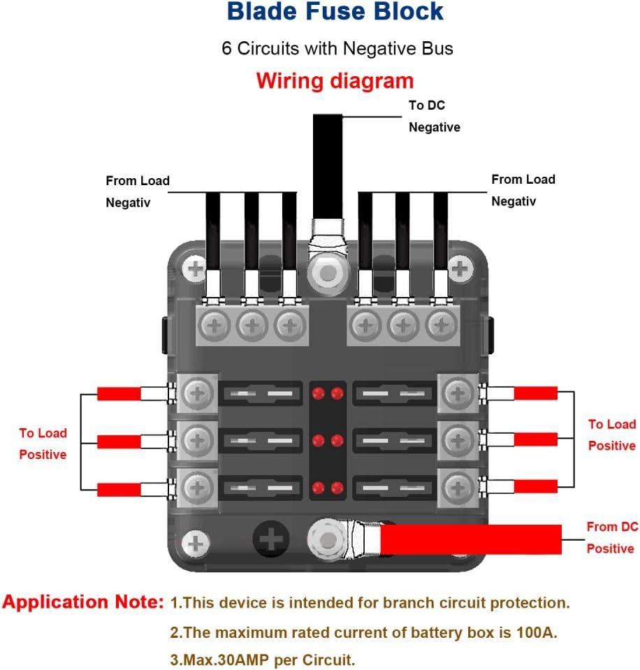 1986 bayliner fuse diagram amazon com iroch 6 way fuse box holder dc 12v 32v 100amp blade  iroch 6 way fuse box holder dc 12v