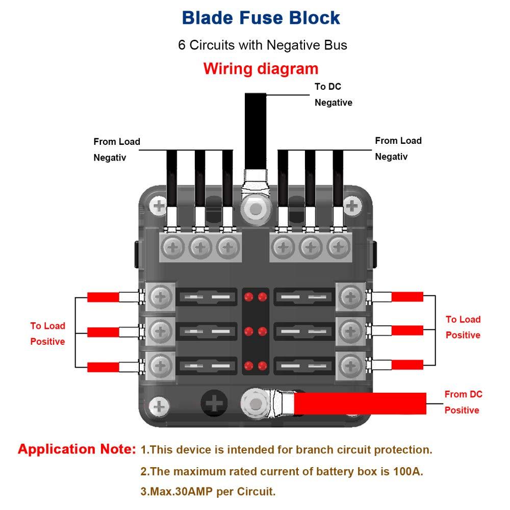iroch 6 way fuse box holder, dc 12v 32v 100amp blade fuse boxiroch 6 way fuse box holder, dc 12v 32v 100amp blade fuse box holder