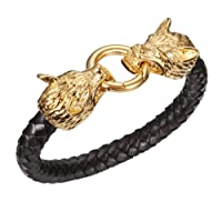 MASOP Viking Style Men's Braided Leather Bracelet Stainless Steel 2 Dragon Head Clasp (Silver/Gold)