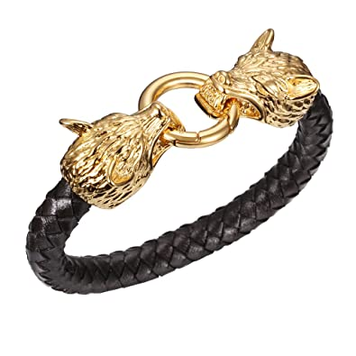 4c609dd16 MASOP Men's Braided Leather Viking Style Bracelet Stainless Steel 2 Dragon  Head Clasp,Black Gold