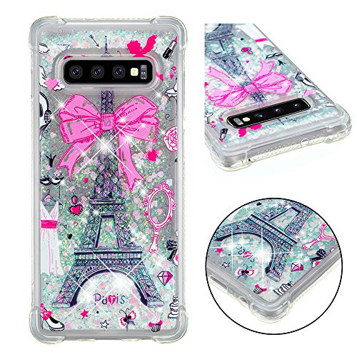 Galaxy S10 Plus Case, Ankoe Shockproof Luxury Twinkle Moving Bling Shiny Quicksand Glitter and Double Protection with PC Layer and TPU Bumper Case for Samsung Galaxy S10+ Plus (Tower)