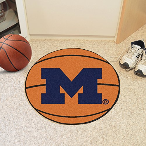FANMATS NCAA University of Michigan Wolverines Nylon Face Basketball Rug - Michigan University Basketball Rug