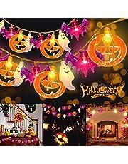 Halloween Lichtslingers, 3M 20 LED's Halloween Decoratie Lichten Pompoen Lichtslingers Paarse Vleermuizen en 3D Plastic Witte Spoken Waterdicht voor Tuin, Binnen, Buiten