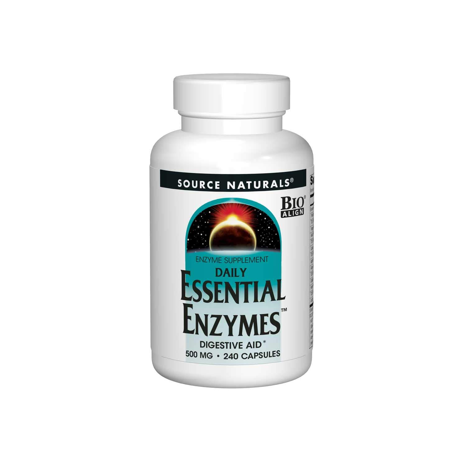 Source Naturals Essential Enzymes 500mg Bio-Aligned Multiple Enzyme Supplement Herbal Defense for Digestion, Gas, Constipation & Bloating Relief - Supports A Strong Immune System - 240 Capsules by Source Naturals
