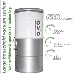 Large Capacity Central Vacuum System - Hybrid Filtration For Air Purification - 25L or 6.6Gal - 630 Airwatts Power Unit