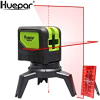 Huepar Cross Line Laser Level with 2 Plumb Dots -Red Beam Self Leveling 180-Degree Vertical Line and Horizontal Line with Plumb Points, Multi-Use Self-Leveling Alignment Laser Level Tool 9211R