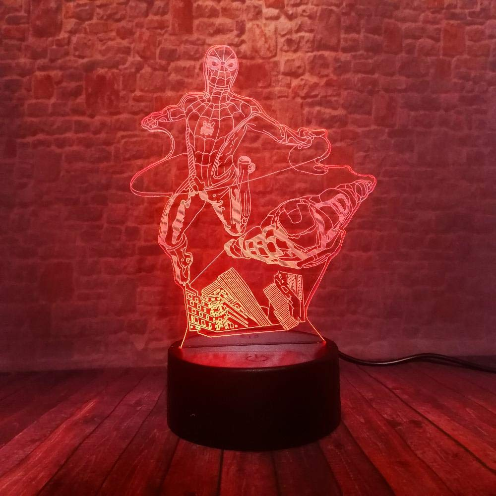 Novedad Marvel Avengers Figura superh/éroe de dibujos animados Spiderman Iron Man L/ámpara de mesa 3D Luz nocturna de humor LED USB Regalo para ni/ños Juguetes para beb/és Touch One 7 Color USB Ni/ños Reca