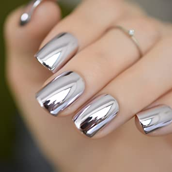 CoolNail Shiny Punk Style Metallic Light Purple False Fake Nails Metal Plating Acrylic Short Reflective...