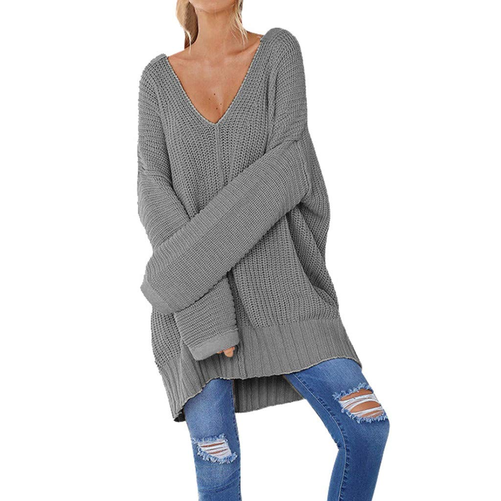 Benficial Sweaters for Women Fashion Women Casual Solid Long Sleeve Jumper V-Neck Lazy Loose Sweater Blouse 2019 New Gray by Benficial
