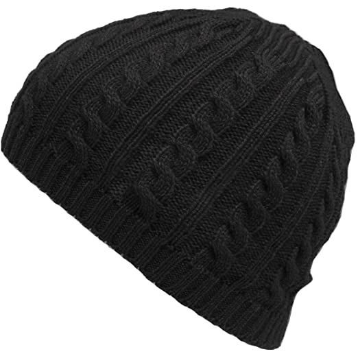 Zadaro Men Winter Warm Knit Slouchy Beanie Skully Oversized Ski Cap Hat  (Black) 63a4d95ee9f