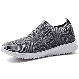 LANCROP Women's Comfortable Walking Shoes - Lightweight Mesh Slip on Athletic Sneakers 5 US, Label 35 Dark Grey