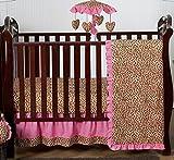 Sweet Jojo Designs Cheetah Animal Print Pink and Brown Baby Girl Bedding 4pc Girls Crib Set Without Bumper