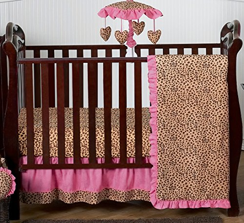Sweet Jojo Designs Cheetah Animal Print Pink and Brown Baby Girl Bedding 4pc Girls Crib Set Without Bumper by Sweet Jojo Designs