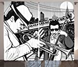 Ambesonne Jazz Music Decor Curtains 2 Panel Set, Illustration of Jazz Band Playing the Blues in New York in the Moonlight Retro Decor, Living Room Bedroom Decor, 108 W X 84 L Inches, Black White Review