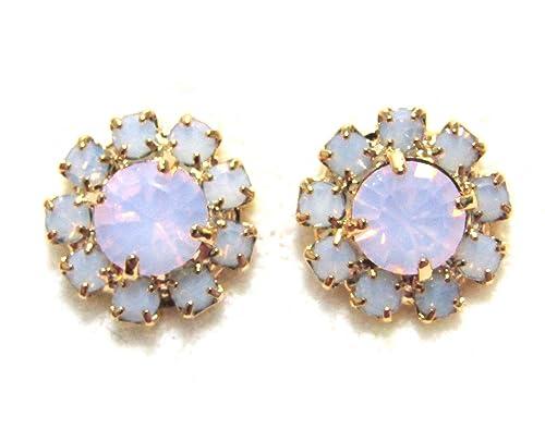 Opal and Cystal Clip Earrings
