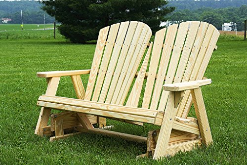 Furniture Barn USA Pressure Treated Pine Fan Back Adirondack 4 Ft Glider Amish Made USA - White (4' Adirondack Glider)