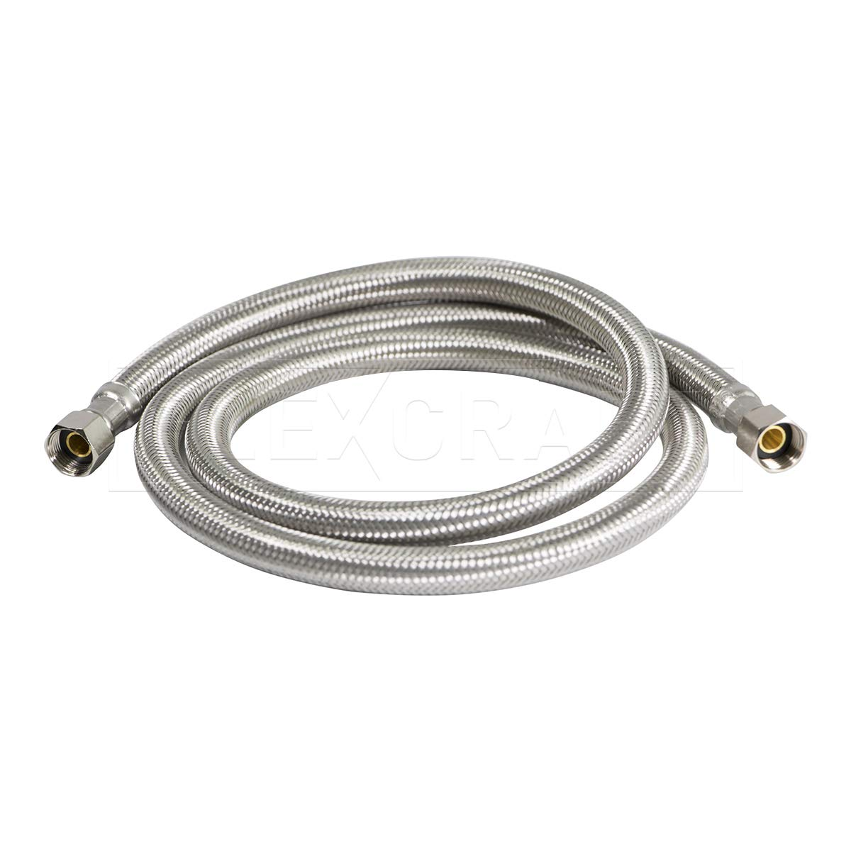 FlexCraft 26610-NL, Ice Maker Supply Line, Connects Ice Maker to Water Supply, Ice Maker Hose With 1/4 in Fittings On Both Ends, Braided Stainless Steel 10 Ft