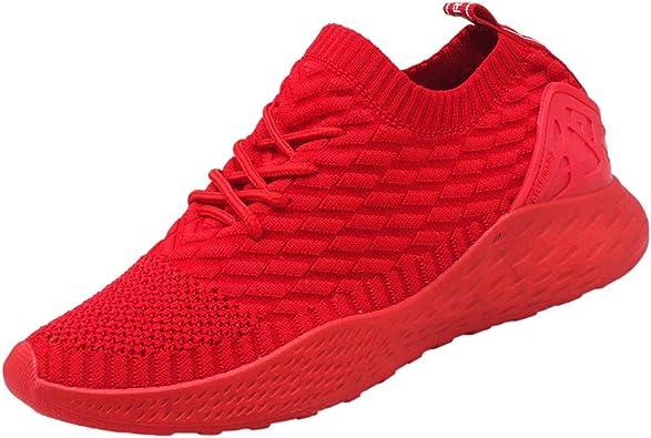 Hombre Zapatillas de Deporte Sneakers para Correr Running Slip on Tejer Calcetines Zapatos de Gimnasia Low-Top Calzado Atletismo Casual Comodos Negro Azul Gris Verde Rojo Blanco 39-44: Amazon.es: Zapatos y complementos