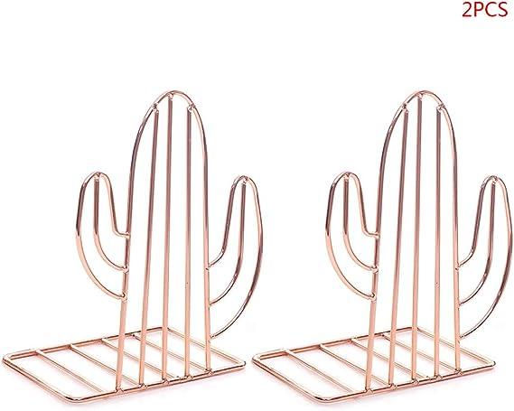 Exing 2 pi/èces Serre-Livres en Forme de Cactus Serre-Livres en m/étal cr/éatif Support de Livre Organiseur de Bureau Titulaire de Stockage de Livre Or