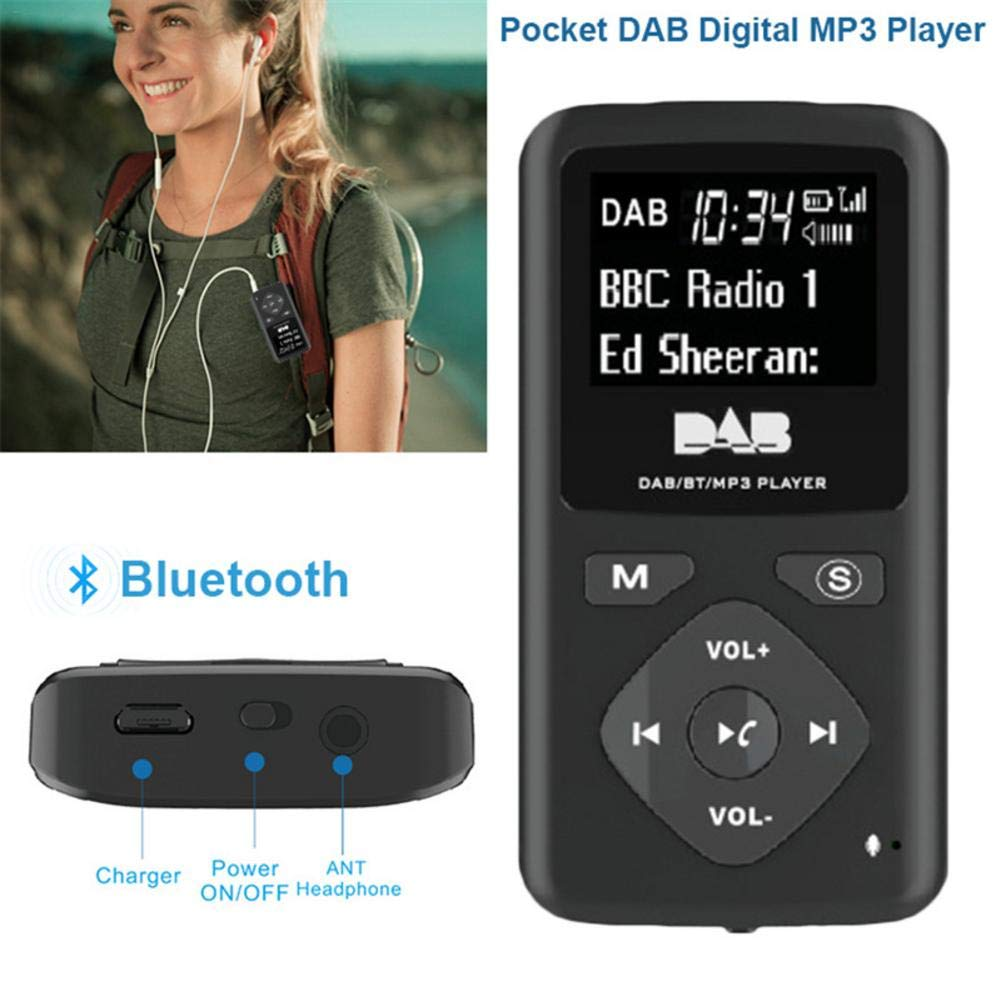 HEYJUDY Portable Bluetooth MP3 Player Digital Radio 1.8 in LCD Display Hands-Free Calling for Hiking Walking Running Sports by HEYJUDY (Image #4)