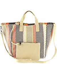 Rumi Multi Colored Woven Geomtric Pattern Beach Tote with Zipper Pouch