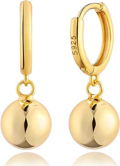 High Polish Stainless Steel and Gold Tone Huggie Hoop Earrings 26605