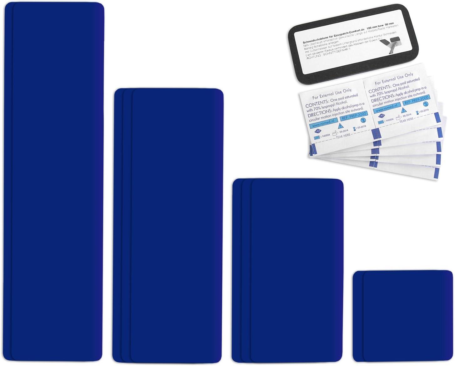 Parche para reparar toldos de semirremolques | disponible en multitud de colores | Easy Patch Comfort 100 mm de ancho - 10 piezas - | Enzianblau RAL 5010