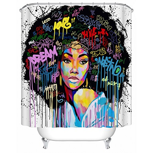 - Graffiti Art Design Fabric Hip Hop Shower Curtain,African American Girl with Plaid Shirt is Staring at Somewhere Else,Big Hair,72Wx72H,Waterproof,White Background