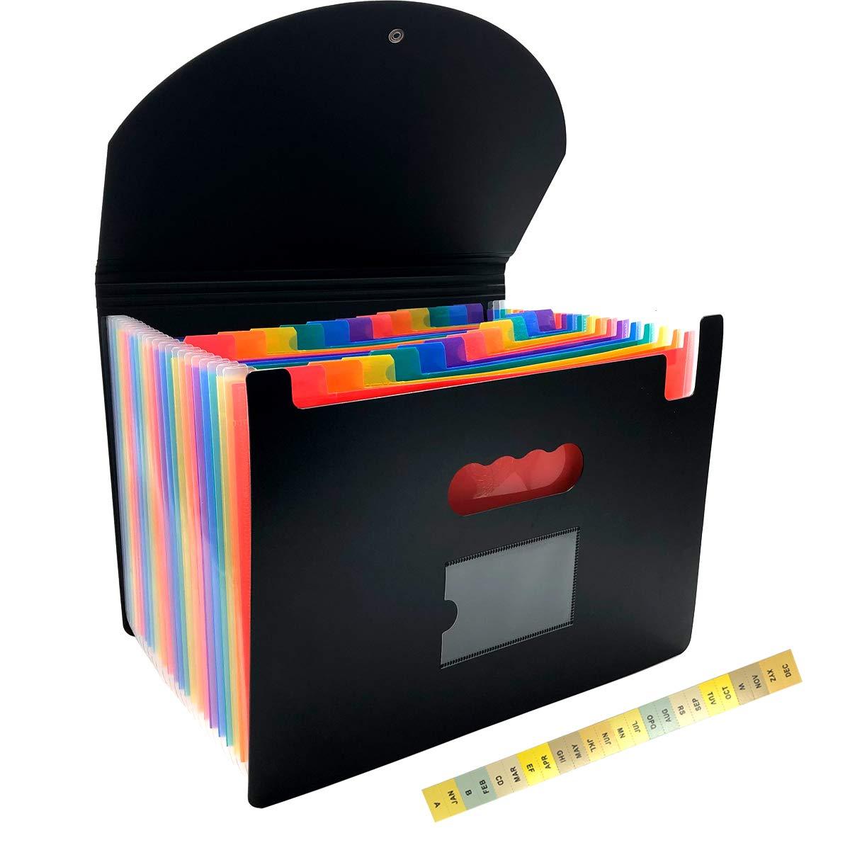 Black INTVZ03167 Vaultz Letter Size Locking 7-Pocket Expanding File