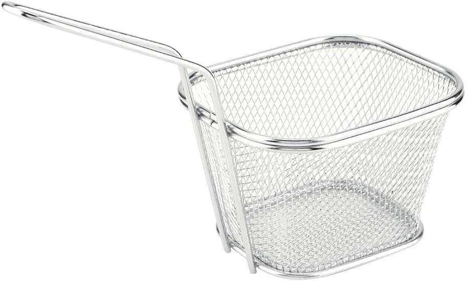 SANON Fry Baskets, 1Pcs Mini Stainless Steel Chips Deep Food Presentation Strainer Tool Basket with Handle Fryer Pan for Chips Fries Shrimps Wedges Potato Cooking