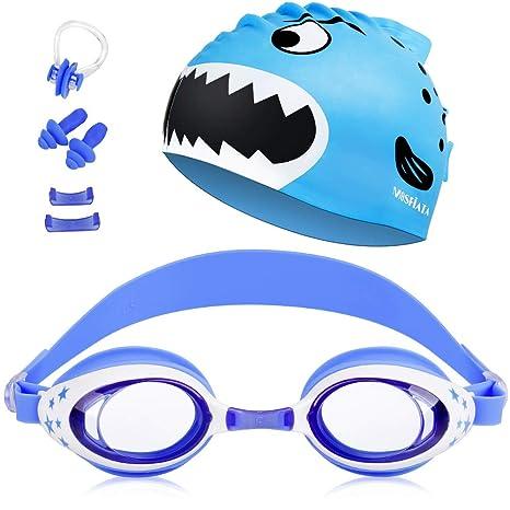 MOSFiATA Schwimmbrille Kinder, Schwimmbrillen Taucherbrille UV-Schutz Anti-Fog verstellbar,elastische Badekappe + Ohrstöpsel
