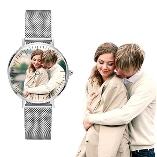 Relojes Personalizados de Acero Inoxidable con Foto para Amantes Regalo Personalizado para Hombres Reloj de Pulsera de Mujer: Amazon.es: Relojes