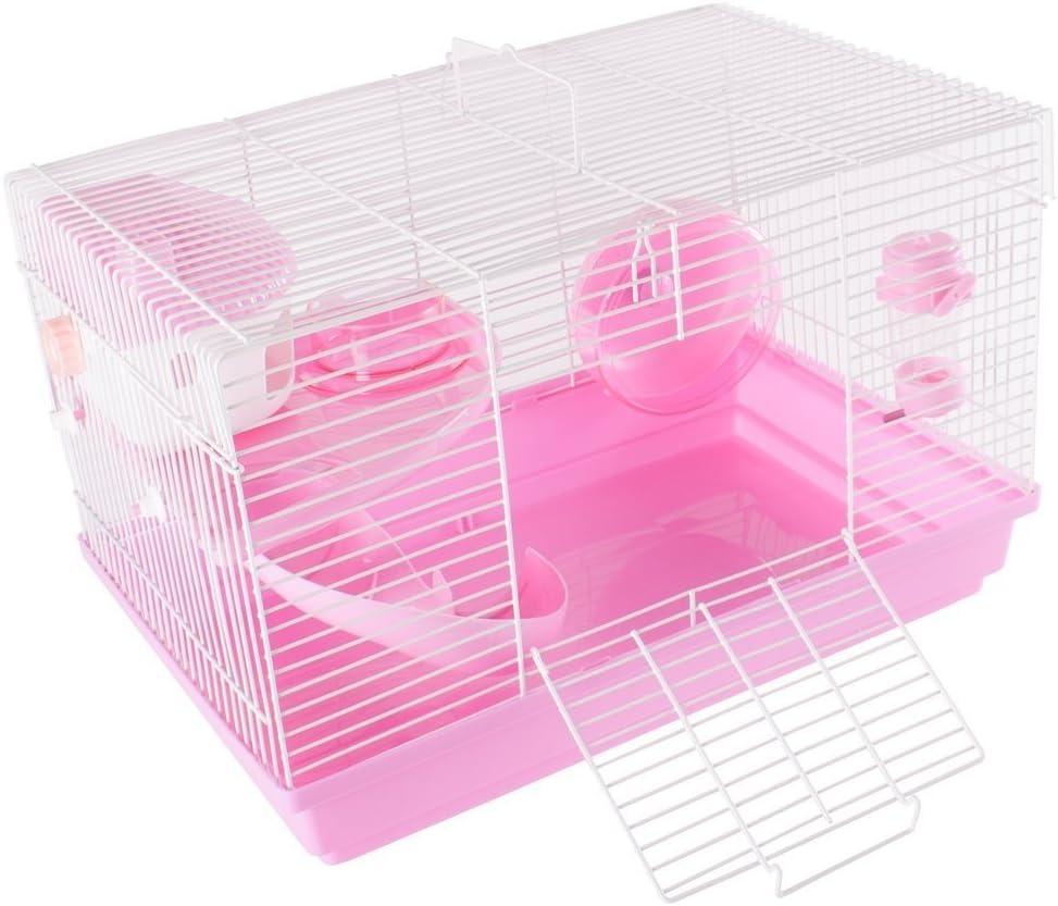 Pet Animal Hamster Cage Feeding Station Habitat Portable Gerbils Mice Home Mouse House Pink Amazon Co Uk Pet Supplies