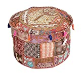 GANESHAM Indian Room Decor Hippie Vintage Cotton Floor Pillow & Cushion Patchwork Bean Bag Chair Cover Boho Bohemian Hand Embroidered Ethnic Handmade Pouf Ottoman 13x18 inch