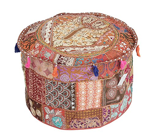 (GANESHAM Indian Room Decor Hippie Vintage Cotton Floor Pillow & Cushion Patchwork Bean Bag Chair Cover Boho Bohemian Hand Embroidered Ethnic Handmade Pouf Ottoman 13x18)