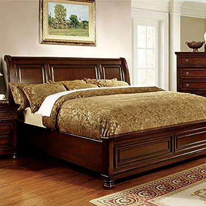 Amazon.com: 247SHOPATHOME IDF-7682EK Bed-Frames, King, Cherry ...
